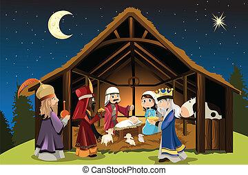 jézus, férfiak, bölcs, krisztus, három