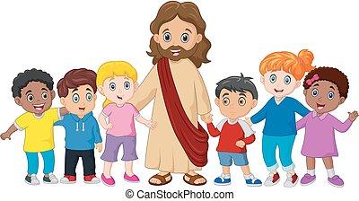 jézus, gyerekek, krisztus