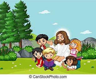 jézus, gyerekek, liget