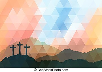 jézus, húsvét, cross., christ., színhely, polygonal, design.