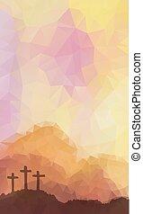jézus, húsvét, cross., vektor, színhely, christ., polygonal, design.