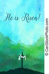 jézus, húsvét, illustr, cross., vízfestmény, vektor, színhely, christ.