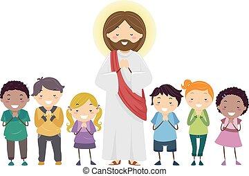 jézus, imádkozás, stickman, ábra, gyerekek