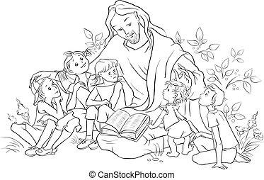jézus, oldal, biblia, színezés, felolvasás, gyerekek