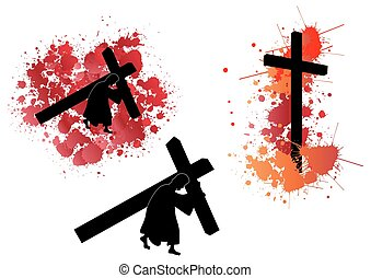 jézus, szállítás, kereszt