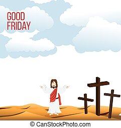 jézus, széles, jó, háttér, ábra, péntek, krisztus, kar, nyílik, fogalom