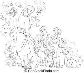jézus, színezés, gyerekek, oldal