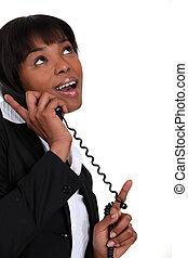 jó, üzletasszony, felett, telefon, hír, felfogó