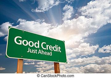 jó, elhomályosul, aláír, hitel, zöld, út