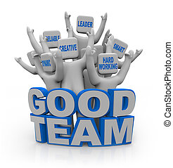 jó, emberek, -, csapatmunka, qualities, befog