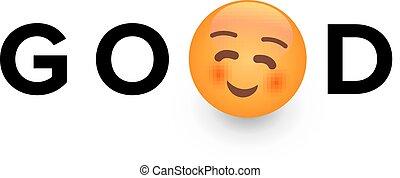 jó, gyerekek, játékszer, smiley, text., sárga arc, vektor, érzelmek, jel, karikatúra, template., boldogság