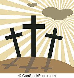 jó, keresztbe tesz, húsvét, nap, péntek