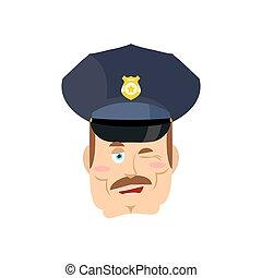 jó, rendőr, winks., cop., rendőr, arc, mosoly, mimika, police.