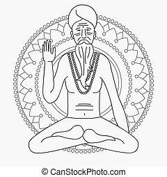 jóga, áttekintés, jel, elmélkedik, india, ázsia, szerzetes, sadhu, hinduizmus, ember, vallásos, betű
