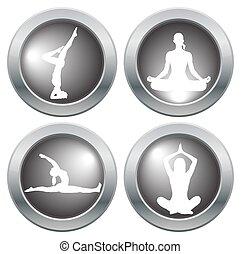 jóga, 2, állhatatos, ikon