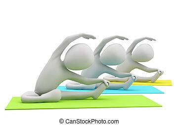 jóga, image., emberek, háttér., exercises., csoport, fehér, 3