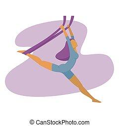 jóga, karcsú, ábra, levegő, vektor, gyakorló, leány
