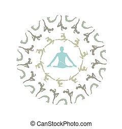 jóga, mandala-, egyedülálló, mandala, árnykép