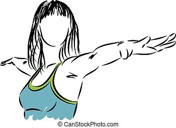jóga, nő, illustra, állóképesség