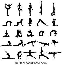 jóga, silhouettes., set., gyűjtés, poses., asana, nők