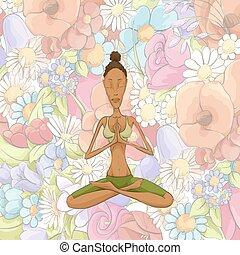 jóga, woman elmélkedik