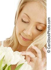 jókedvű, tulipánok, fehér, szőke