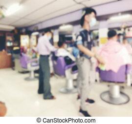 jön, covid-19, nyílik, kép, helyzet, thai ember, enged, bolt, után, emberek, borbély, improved., arc álarc, elvág, kap, -eik, kormány, thaiföld, haj, életlen