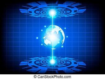 jövő, elvont, vektor, technológia
