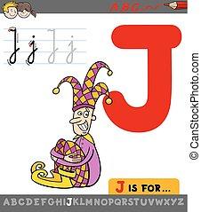 j, betű, udvari bolond, levél, karikatúra