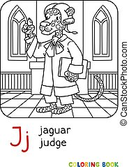 j, jaguár, bíró, könyv, színezés, abc, ábécé