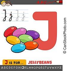 j, jellybeans, levél, worksheet, karikatúra