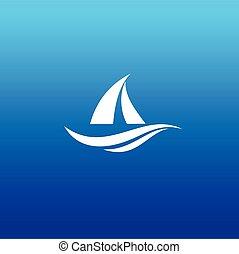 jacht, tervezés, jel, csónakázik, jel, vektor