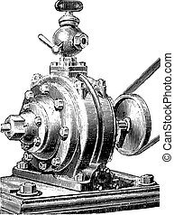 jacomy, külső kilátás, engraving., szüret, engine.