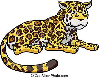 jaguár, karikatúra, macska