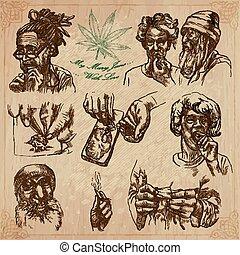 jamaica, utazás, -, kéz, vektor, húzott, konzervál