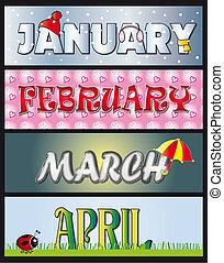 január, február, induló, április