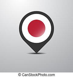 japán, gombostű, térkép