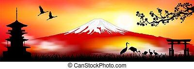 japán, táj, felmegy fuji, napnyugta