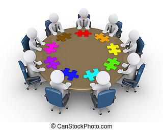 javasol, különböző, gyűlés, businessmen, megoldások