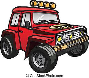 jeep., elszigetelt, piros, karikatúra