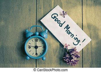 jegyzet, óra, old-styled, jó reggelt