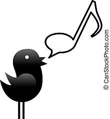 jegyzet, őt énekel, kevés, csipogni, madár