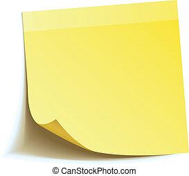 jegyzet, bot, sárga