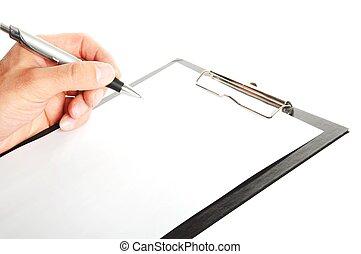 jegyzet, csipeszes írótábla, írás