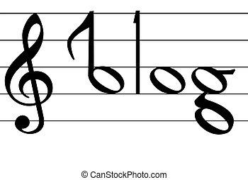 jegyzet, szó, jelkép, blog, tervezés, zene