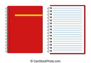 jegyzetfüzet, piros