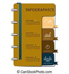 jegyzetfüzet, tervezés, sablon, infographics
