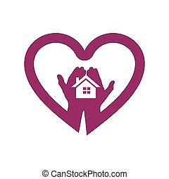 jel, épület, szív, kéz, ikon