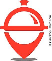 jel, étterem, vektor, elhelyezés, ikon