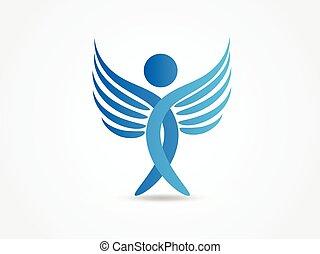 jel, angyal, kék, kasfogó